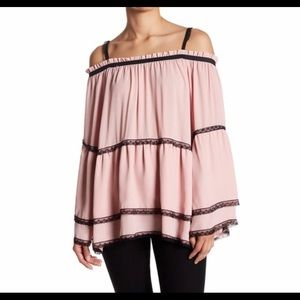 COLD SHOULDER BELL SLEEVE PINK BLOUSE NWT